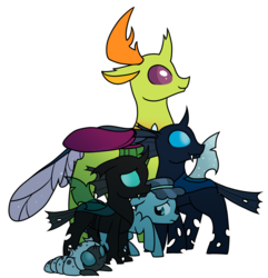 Size: 1625x1689 | Tagged: age progression, artist:cloureed, changedling, changeling, changeling larva, crystal hoof, disguise, disguised changeling, floppy ears, frown, king thorax, looking away, looking back, raised hoof, sad, safe, self ponidox, simple background, smiling, thorax, to where and back again, transparent background