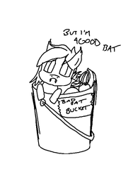 Size: 512x680 | Tagged: safe, artist:nukepone, oc, oc only, bat pony, pony, :c, adorable distress, bad bat bucket, banana, bat bucket, bucket, cute, ear tufts, fangs, female, food, frown, fruit, leaning, lidded eyes, lineart, looking at you, mare, monochrome, sad, sadorable, simple background, solo, white background