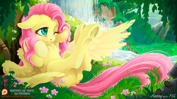 Size: 1000x563 | Tagged: safe, artist:arctic-fox, fluttershy, ladybug, pegasus, pony, beautiful, chest fluff, crepuscular rays, cute, ear fluff, featureless crotch, female, floppy ears, flower, fluffy, forest, grass, legs in air, mare, nature, on back, one eye closed, patreon, patreon logo, river, scenery, shyabetes, signature, solo, spread wings, tree, underhoof, water, waterfall