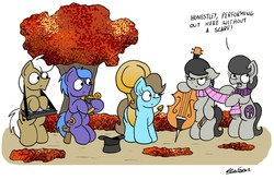 Size: 2377x1567 | Tagged: safe, artist:bobthedalek, beauty brass, frederic horseshoepin, octavia melody, parish nandermane, oc, oc:mixed melody, oc:octavia's mother, earth pony, pony, autumn, background pony, cello, clothes, female, harp, hat, keyboard, leaves, male, mare, mothers gonna mother, musical instrument, octavia is not amused, open mouth, scarf, simple background, sitting, sousaphone, stallion, top hat, tree, unamused, white background