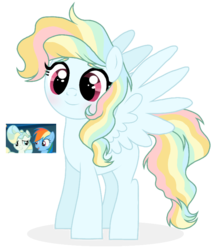 Size: 690x808 | Tagged: adoptable, artist:unoriginai, crack shipping, female, lesbian, magical lesbian spawn, oc, offspring, parent:rainbow dash, parents:vapordash, parent:vapor trail, rainbow dash, safe, shipping, simple background, top bolt, transparent background, vapordash, vapor trail