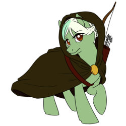 Size: 3000x3000 | Tagged: arrow, artist:floots, bow (weapon), braid, cloak, clothes, female, mare, oc, oc:evergreen, oc only, pony, quiver, safe, solo, weapon