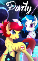 Size: 1200x1920   Tagged: safe, artist:joe0316, artist:laptop-pone, dj pon-3, vinyl scratch, oc, oc:rosa blossomheart, curved horn, missing accessory, open mouth, party, raised hoof, rave, speakers, turntable
