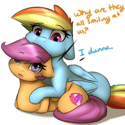 Size: 1800x1800 | Tagged: safe, artist:captainpudgemuffin, rainbow dash, scootaloo, pegasus, pony, :<, behaving like a cat, captainpudgemuffin is trying to murder us, cheek fluff, chest fluff, confused, cuddling, cute, cutealoo, cutie mark, dashabetes, dialogue, duo, ear fluff, eyebrows, eyebrows visible through hair, female, filly, floppy ears, fluffy, fourth wall, frown, looking at you, mare, neck fluff, on side, open mouth, ponyloaf, prone, rainbow cat, scootacat, scootalove, simple background, text, the cmc's cutie marks, white background, wide eyes, wing fluff