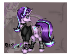 Size: 1024x779 | Tagged: safe, artist:pinkcatartist, starlight glimmer, bracelet, edgelight glimmer, hilarious in hindsight, jewelry, punk, solo, spiked wristband