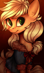 Size: 2835x4724 | Tagged: safe, artist:inviizzible, applejack, earth pony, pony, alternate hairstyle, clothes, female, gradient background, mare, sitting, solo