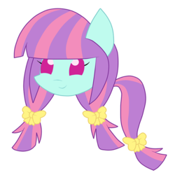 Size: 1000x1000 | Tagged: safe, artist:luckyclau, sunny flare, equestria girls, bow, chibi, equestria girls ponified, hair bow, pigtails, ponified, solo, tail bow, twintails
