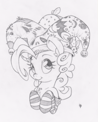 Size: 799x1000 | Tagged: safe, artist:dfectivedvice, pinkie pie, chest fluff, clothes, cute, diapinkes, grayscale, hat, jester, jester pie, monochrome, socks, solo, striped socks