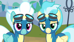 Size: 1920x1080   Tagged: safe, screencap, fleetfoot, misty fly, pony, newbie dash, clothes, duo, lidded eyes, looking at you, wonderbolts uniform