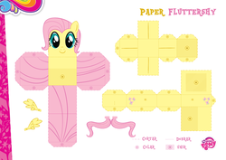 Size: 2048x1447 | Tagged: safe, part of a set, fluttershy, official, craft, female, my little pony logo, papercraft, portuguese, solo
