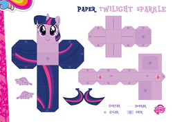 Size: 2048x1447 | Tagged: safe, part of a set, twilight sparkle, alicorn, pony, official, craft, female, my little pony logo, papercraft, portuguese, solo, twilight sparkle (alicorn)