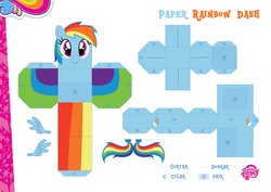 Size: 2048x1447 | Tagged: safe, part of a set, rainbow dash, official, craft, female, my little pony logo, papercraft, portuguese, solo
