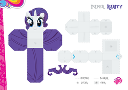 Size: 2048x1447 | Tagged: safe, part of a set, rarity, official, craft, female, my little pony logo, papercraft, portuguese, solo