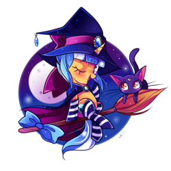 Size: 1200x1200 | Tagged: safe, artist:ipun, oc, oc only, oc:passion freeze, cat, pony, blushing, bow, broom, cape, clothes, female, flying, flying broomstick, full moon, hat, heart eyes, luna (sailor moon), moon, night, night sky, one eye closed, open mouth, sailor moon, simple background, sitting, sky, smiling, socks, stars, striped socks, transparent background, wingding eyes, wink, witch, witch hat