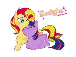 Size: 1024x768   Tagged: safe, artist:extraluna, sunset shimmer, twilight sparkle, alicorn, pony, unicorn, blushing, cuddling, cute, eyes closed, female, lesbian, looking down, mare, ponyloaf, prone, shimmerbetes, shipping, simple background, snuggling, sunsetsparkle, twiabetes, twilight sparkle (alicorn), white background