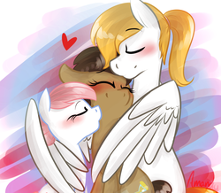 Size: 1145x1000   Tagged: safe, artist:lilliesinthegarden, doctor whooves, nurse redheart, time turner, oc, oc:ice shine, earth pony, pegasus, pony, aftersex, bisexual, blushing, canon x oc, cute, eyes closed, female ice shine, femboy, gay, heart, hug, imminent sex, implied gay, implied group sex, implied lesbian, implied sex, implied shipping, implied threesome, kissing, love, lucky bastard, male, nurse turner, ponytail, rule 63, shipping, stallion, straight, winghug, x gets all the mares