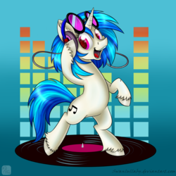 Size: 800x800 | Tagged: safe, artist:swanlullaby, dj pon-3, vinyl scratch, pony, unicorn, abstract background, bipedal, colored hooves, cutie mark, female, headphones, hooves, horn, looking at you, magenta eyes, mare, open mouth, record, solo, spinning, sunglasses, teeth, unshorn fetlocks