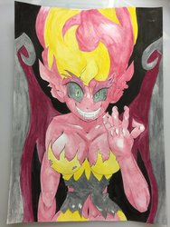 Size: 900x1200   Tagged: safe, artist:nipa, sunset shimmer, demon, equestria girls, belly button, breasts, busty sunset shimmer, female, slasher smile, solo, sunset satan, traditional art, transformation