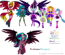 Size: 1024x872 | Tagged: safe, artist:prettycelestia, adagio dazzle, aria blaze, gaea everfree, gloriosa daisy, sci-twi, sonata dusk, sunset shimmer, twilight sparkle, oc, oc:desdemona everqueen, equestria girls, friendship games, legend of everfree, rainbow rocks, abomination, bare shoulders, body horror, equestria is doomed, equestria's monster girls, evil, evil grin, fusion, gem fusion, midnight sparkle, multiple arms, multiple eyes, multiple limbs, nightmare fuel, sleeveless, steven universe, strapless, sunset satan, the dazzlings, this isn't even my final form, this will end in conquest, xk-class end-of-the-world scenario