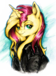 Size: 747x1003   Tagged: safe, artist:buttersprinkle, sunset shimmer, pony, unicorn, bust, clothes, cute, ear fluff, female, jacket, leather jacket, lidded eyes, looking at you, mare, portrait, shimmerbetes, simple background, smiling, smugset shimmer, solo, traditional art, white background, zipper