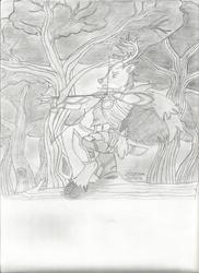 Size: 1700x2338   Tagged: safe, artist:vesperce, oc, oc only, oc:oakstrider, deer, anthro, unguligrade anthro, anthro oc, armor, arrow, bow (weapon), bow and arrow, cloak, clothes, dagger, dungeons and dragons, everfree forest, fantasy class, forest, monochrome, ranger, sword, traditional art, tree, weapon