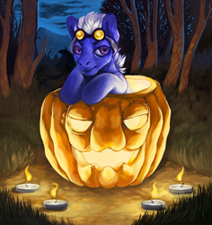 Size: 1478x1565 | Tagged: safe, artist:theray, candle, food, forest, goggles, halloween, jack-o-lantern, pumpkin, solo, ych result