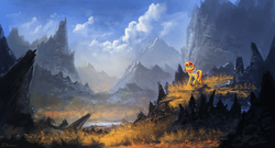 Size: 2100x1135 | Tagged: safe, artist:shamanguli, sunset shimmer, pony, beautiful, female, lake, mountain, scenery, scenery porn, solo, valley