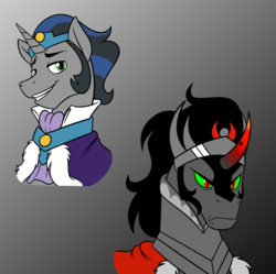 Size: 1178x1172   Tagged: safe, artist:mickeymonster, idw, king sombra, pony, bust, dark mirror universe, duality, good king sombra, gradient background, gray background, male, portrait, simple background, stallion, stupid sexy good king sombra, stupid sexy sombra