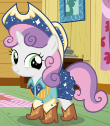Size: 783x897 | Tagged: safe, screencap, sweetie belle, pony, unicorn, on your marks, cute, diasweetes, female, filly, outfit catalog, smiling, solo, square dance