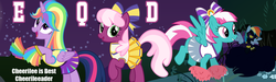 Size: 1162x349 | Tagged: safe, artist:cheezedoodle96, artist:dashiesparkle, artist:dragonchaser123, cheerilee, rainbow dash, spring step, sunlight spring, twilight sparkle, alicorn, pony, equestria daily, banner, cheerileeder, cheerleader, cheerleader sparkle, clothes, halloween, nightmare night, pom pom, shadowbolts costume, twilight sparkle (alicorn)