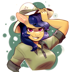 Size: 1065x1096 | Tagged: anthro, artist:lizombie, breasts, commission, daring do, hat, icon, safe, smirk, solo