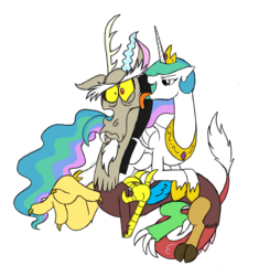 Size: 1425x1514 | Tagged: safe, artist:mickeymonster, discord, princess celestia, dislestia, frown, licking, lidded eyes, male, open mouth, shipping, simple background, smiling, straight, surprised, tongue out, white background