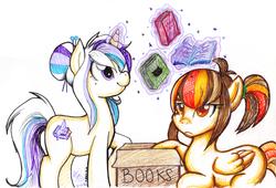 Size: 900x612 | Tagged: safe, artist:amisunshine, oc, oc only, oc:autumn topaz, oc:pastel tanzanite, pony, unicorn, book, box, magic, traditional art