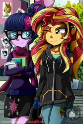 Size: 1280x1920   Tagged: safe, artist:darkmirroremo23, sci-twi, sunset shimmer, twilight sparkle, equestria girls, friendship games, book, clod, clothes, coat, cutie mark on clothes, female, glasses, hair bun, lesbian, one eye closed, scarf, scitwishimmer, shipping, skirt, smiling, steven universe, sunsetsparkle, walking, watermark, wink, yellow diamond (steven universe)