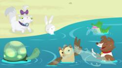 Size: 3475x1944 | Tagged: safe, artist:porygon2z, angel bunny, gummy, opalescence, owlowiscious, tank, winona, pet six, water