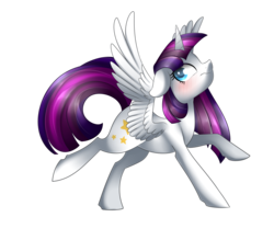 Size: 2400x2100 | Tagged: safe, artist:scarlet-spectrum, oc, oc only, oc:twily star, alicorn, pony, alicorn oc, art trade, blushing, cute, looking back, recolor, simple background, solo, spread wings, transparent background, wavy mouth