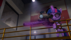 Size: 1024x576 | Tagged: safe, artist:ata64, twilight sparkle, pony, unicorn, 3d, catwalk, clothes, crossover, door, female, glasses, glowing horn, gun, hat, hooves, horn, levitation, magic, mare, one eye closed, optical sight, poster, rifle, sign, sniper, sniper rifle, solo, source filmmaker, sunglasses, team fortress 2, teeth, telekinesis, vest, weapon