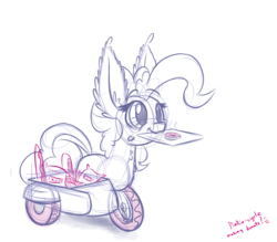 Size: 800x700 | Tagged: safe, artist:heir-of-rick, pinkie pie, original species, pony, wheelpone, :3, chest fluff, cute, donut, ear fluff, fluffy, food, impossibly large ears, motorcycle, ponycycle, sidecar, simple background, sketch, smiling, solo, species swap, text, tricycle, wheel, white background