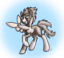 Size: 500x450 | Tagged: safe, artist:sallindaemon, oc, oc only, oc:dusty wing, pegasus, pony, feather guns, female, finger gun, finger guns, glare, gradient background, grin, lidded eyes, mare, raised hoof, smiling, smirk, solo, spread wings, wing hands, wings
