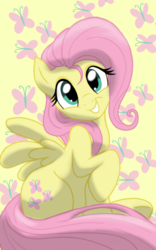Size: 1200x1920 | Tagged: safe, artist:theroyalprincesses, fluttershy, pegasus, pony, adorable face, cute, cutie mark background, female, head turn, looking at you, mare, raised hoof, shyabetes, simple background, sitting, smiling, solo, waifu, yellow background