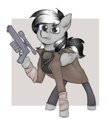 Size: 1672x1852 | Tagged: artist:marsminer, clothes, coat, fallout, fallout: new vegas, gritted teeth, gun, handgun, hoof hold, ncr ranger, oc, oc only, oc:thunderstuck, pegasus, pistol, pony, safe, simple background, solo, weapon