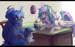 Size: 1600x1000 | Tagged: safe, artist:1an1, princess celestia, princess luna, alternate hairstyle, bed mane, chair, coffee, cup, curved horn, gradient background, hair bun, leaning, levitation, lidded eyes, looking at each other, magic, messy mane, open mouth, scroll, sitting, smiling, table, telekinesis, wide eyes
