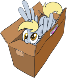 Size: 887x1023 | Tagged: safe, artist:pencils, derpy hooves, pegasus, pony, box, cute, derpabetes, female, mare, nom, nose wrinkle, pencils is trying to murder us, pony in a box, simple background, smiling, solo, spread wings, transparent background, weapons-grade cute