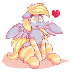 Size: 2400x2348 | Tagged: safe, artist:graphene, derpy hooves, pegasus, pony, chest fluff, clothes, cute, derpabetes, female, heart, mare, socks, solo, spread wings, striped socks