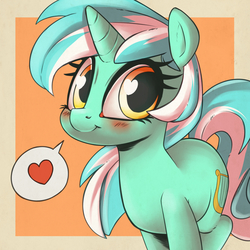 Size: 1000x1000 | Tagged: safe, artist:atane27, artist:kinkypinkie, lyra heartstrings, pony, unicorn, :t, blushing, collaboration, cute, female, heart, heart eyes, lacrimal caruncle, looking at you, lyrabetes, mare, pictogram, smiling, solo, speech bubble, spoken heart, sweet dreams fuel, wingding eyes