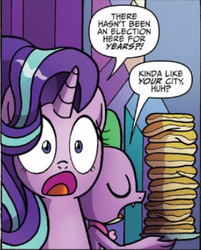 Size: 306x380 | Tagged: safe, artist:agnesgarbowska, idw, spike, starlight glimmer, dragon, pony, unicorn, spoiler:comic, spoiler:comic46, burn, cropped, duo, eyes closed, female, food, male, mare, official comic, pancakes, rude, speech bubble, surprised