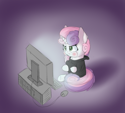 Size: 1952x1756 | Tagged: safe, artist:vanillaghosties, sweetie belle, pony, unicorn, angry, clothes, computer, computer mouse, crossed arms, cute, diasweetes, female, filly, grumpy belle, hoodie, pouting, puffy cheeks, sitting, solo