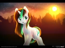 Size: 3310x2480 | Tagged: safe, artist:redstoneengine, oc, oc only, pony, unicorn, :3, backlighting, blushing, multicolored hair, multicolored mane, solo, sun, sunset