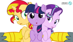 Size: 2647x1541 | Tagged: artist:arifproject, cute, filly, filly starlight, filly sunset, filly twilight sparkle, gabby, glimmerbetes, griffon, offscreen character, pony, safe, shimmerbetes, simple background, starlight glimmer, sunset shimmer, transparent background, twiabetes, twilight's counterparts, twilight sparkle