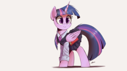 Size: 2500x1406 | Tagged: safe, artist:ncmares, twilight sparkle, alicorn, pony, adorkable, book, clothes, colored pupils, cute, dork, female, long sleeves, looking at something, mare, neck fluff, necktie, pleated skirt, school uniform, schoolgirl, shadow, shirt, signature, simple background, skirt, skirt lift, smiling, solo, style emulation, twiabetes, twilight sparkle (alicorn), vest, white background, wing hold